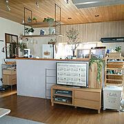 つり棚DIY/AVボード/無印良品/Kitchen…などのインテリア実例