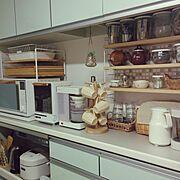 タイル/ストリングシェルフ/トースター/マグツリー/IKEA/ナチュラルキッチン…などのインテリア実例