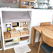 カフェ風/無印良品/ままごとキッチン/収納/こどもと暮らす/シンプルに暮らしたい…などのインテリア実例
