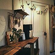 カフェコーナー/リメイク/おうちカフェ/漆喰壁/DIY/Lounge…などのインテリア実例