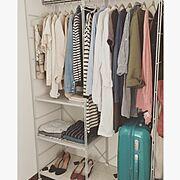 洋服収納/クローゼット収納/収納/無印良品/一人暮らし/ユニットシェルフ…などのインテリア実例