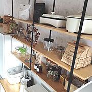 壁面収納/キッチン棚/キッチン棚DIY/アイアン家具/白い家電/山善…などのインテリア実例