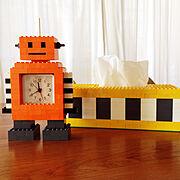 LEGO/レゴ/ティッシュケース/ハンドメイド/時計/目覚まし時計…などのインテリア実例