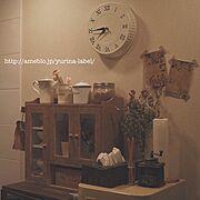 金魚草/ドライフラワー/ベランダの産物/IKEA時計/ウォーターサーバーの上/Kitchen…などのインテリア実例