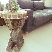 象さん/サイドテーブル/KARE/ドライフラワー/Lounge…などのインテリア実例