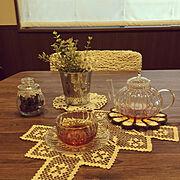 耐熱ガラスティーカップ/耐熱ガラス製ティーポット/ニトリの椅子カバー/ニトリ♡…などのインテリア実例