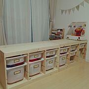 トロファスト/おみせやさんごっこ/子どものいる暮らし/セリア/シンプル/IKEA…などのインテリア実例