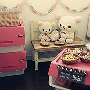 樹脂粘土クッキー/手作りベンチ/コリchan♡/子供部屋/froq/squ+…などのインテリア実例