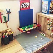 LEGO/男の子の部屋/見せる収納/大工さんセット/レゴ/おもちゃ収納…などのインテリア実例