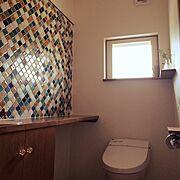 Bathroom/リクシル/名古屋モザイクタイル/コラベル/セリア/トイレットペーパーホルダー…などのインテリア実例