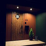 brown/木製/ダウンライト/ウッド壁/木材/観葉植物…などのインテリア実例