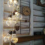 リメイク/みかづきももこ/セリア時計/電球型ボトルライト/On Walls…などのインテリア実例