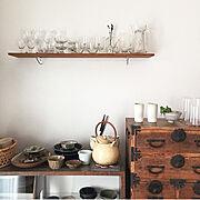 シンプルな暮らし/シンプル/和箪笥/やちむん/うつわ /うつわ好き…などのインテリア実例