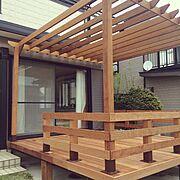 わんこと暮らす家/お庭/ウッドデッキ/ウッドデッキDIY /DIY/パーゴラ…などのインテリア実例