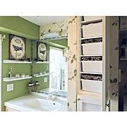 アクセントクロス/整理収納アドバイザー2級/IKEA/マンション暮らし/IKEAの棚…などのインテリア実例