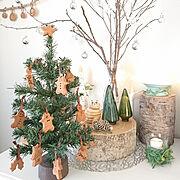 卓上ツリー/On Walls/ジンジャーマン/ダイソーのクリスマスツリー/クッキーオーナメント…などのインテリア実例