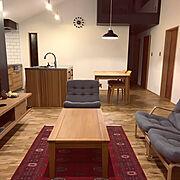 窓/木の家/薪ストーブ/無垢の床/シンプル/天童木工…などのインテリア実例