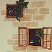 雑貨/窓枠風/リメイクシート/フェイクグリーン/転写シール/リメイク…などのインテリア実例