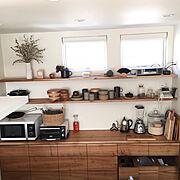 こどもと暮らす。/無垢材/シンプルな暮らし/2階リビング/ブラウン/くるみの木…などのインテリア実例