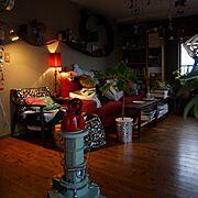 Lounge/カラフルインテリア/IKEA/無垢の床/アラジンストーブ…などのインテリア実例