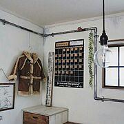 ブログよかったら見てみて下さい♩/IG⇨maca_home/壁をペンキで塗る/裸電球…などのインテリア実例