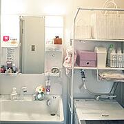 脱衣所/脱衣所&洗面所&ランドリー/Francfranc/洗濯機周り/1DK…などのインテリア実例