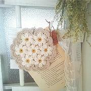 tensmileさん作お花のモチーフ/ミニはしごDIY/DIY/ドライフラワー/レース…などのインテリア実例