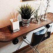 観葉植物/NO GREEN NO LIFE/IKEA/エアープランツ/スケボースツール…などのインテリア実例