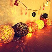 LEDライト/DIY/賃貸/100均/幸せ気分♪/セリア…などのインテリア実例
