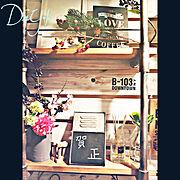 パイプ棚diy/シャビーシック/100均雑貨/お正月ディスプレイ/キャンドゥ☆/ダイソー…などのインテリア実例