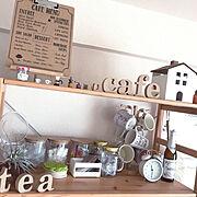 salut!/木が好き/カフェ風インテリア/cafe/カフェ風/いいね、フォロー本当に感謝デス☺︎…などのインテリア実例
