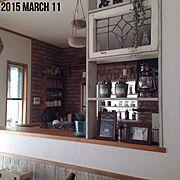 腰板/腰壁DIY/Kitchen/エアプランツ/モシャモシャ/mami.ちゃん…などのインテリア実例