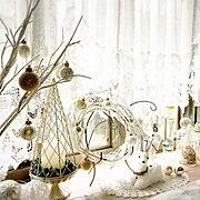 出窓ディスプレイ/出窓/My Shelf/ホワイトクリスマス/ほっこり♡/モニター当選♡…などのインテリア実例