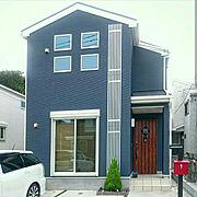 花壇/門柱/木/青い家/赤いポスト/LIXIL玄関ドア…などのインテリア実例