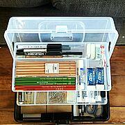 工具箱/アイリスオーヤマ/文房具収納…などのインテリア実例