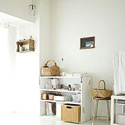 飾り棚/ペイント/白/カフェ風/古いもの/雑貨…などのインテリア実例