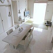 畳コーナー/ダイニングテーブル/シンプル/変化はありませんが‥。/ホワイトシンプル連合会/Overview…などのインテリア実例