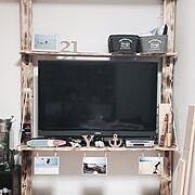 TV台DIY/ダイソー/100均/雑貨/ぐちゃぐちゃ/DIY…などのインテリア実例