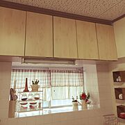 ナチュラル/キッチン収納/リメイクシート/コーナン/吊り戸棚リメイク/Kitchen…などのインテリア実例
