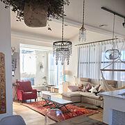 注文住宅/2階リビング/ハンドメイド/BOHO/ビーズランプ/ペルシャ絨毯…などのインテリア実例