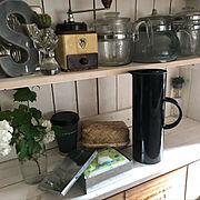 キッチン収納/みせる収納/コメントお気遣いなく/グリーンのある暮らし/断捨離中(`・ω・´)…などのインテリア実例