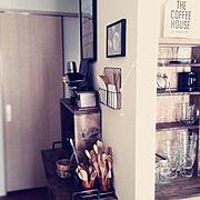 賃貸/杉板/黒ペイント/シンプル/古渋く/コーヒースペース…などのインテリア実例