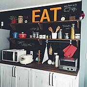 造作棚/アルファベットオブジェ/黒板塗料/飾り棚/Kitchen…などのインテリア実例