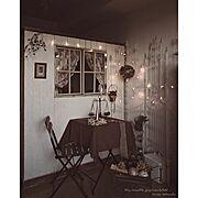 ガーデンテーブル/DIY/IKEA/クリスマスディスプレイ/インスタID「YURINAW」/デコ窓…などのインテリア実例