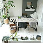ダイニングテーブル/グレー/モノトーンナチュラル/コの字の家/DIY/ハンドメイド…などのインテリア実例