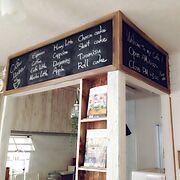 ハンドメイド/黒板塗料ではない。/窓枠/DIY/黒板 /カフェ風〜♡…などのインテリア実例