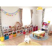 子供部屋は楽しく♪/カラーボックス/こどもと暮らす/子供部屋/キッズルーム/おもちゃ収納…などのインテリア実例