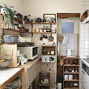 板壁/DIY/古いもの/ナチュラルキッチン&/キッチン雑貨/カフェ風キッチン…などのインテリア実例