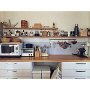 ナチュラル/北欧/名古屋モザイク/キッチン収納/見せる収納/シンプル…などのインテリア実例
