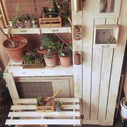 ベランダガーデン/物置/室外機の上/DIY初心者/すのこ/板壁…などのインテリア実例
